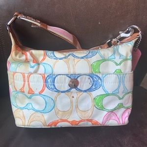 Coach Hamptons Colorful Pastel Scribble Hobo Bag
